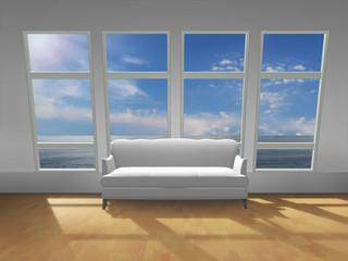 Weißes Sofa am Fenster