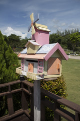 Pastel colored mailbox made of wood