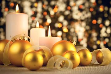 Warm Christmas decoration on glitter bokeh background