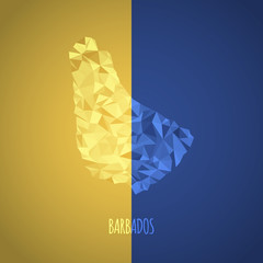 Low Poly Barbados Map with National Colors