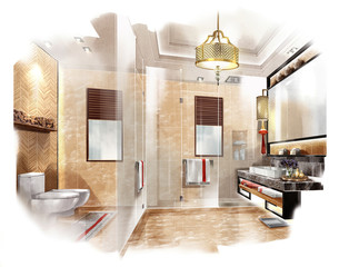 sketch design bathroom,interior design,hotel
