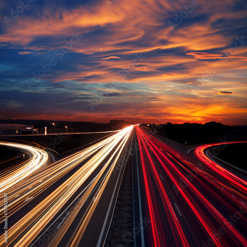 Speed Traffic at Dramatic Sundown Time - light trails - 70902030