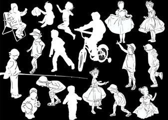 seventeen child silhouettes collection isolated on black