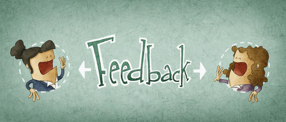 concept of feedback, illustration of two businessman