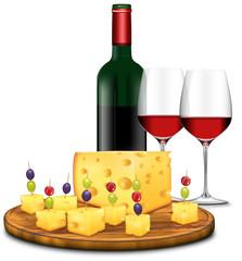 bunte Käseplatte mit Rotwein, freigestellt