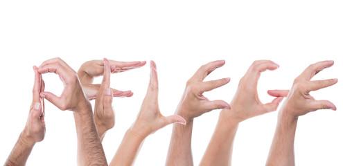 Viele Hände formen das Wort Pflege