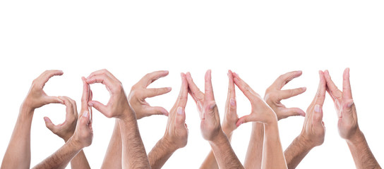 Viele Hände formen das Wort Spenden