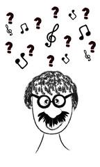 Hombre pensando en la música