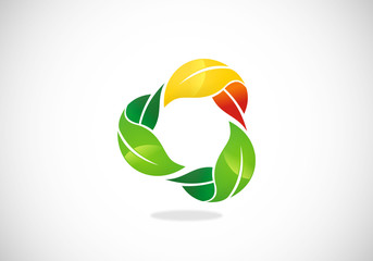three leaf circle color vector logo