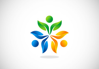 three people ecology leaf circle vector logo