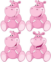 Set of pink hippopotamus - first teeth