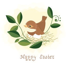 Easter background - bird in nest