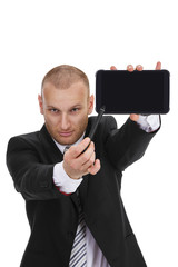 Businessman pointing with a sylus to a tablet phablet phone