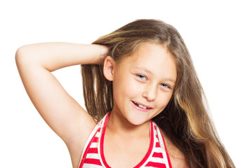 portrait of a little cute girl with long hair