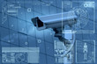 Leinwandbild Motiv CCTV Camera technology on screen display