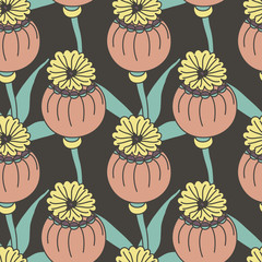Vector seamless pattern of exotic colored flowers