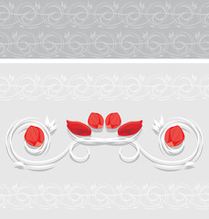 Ornamental border with rose petals for greeting card