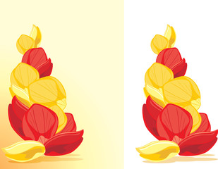 Red and yellow rose petals