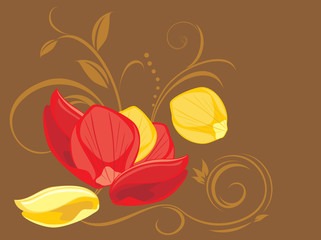 Red and yellow rose petals on the decorative background