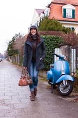 woman walking laughing along