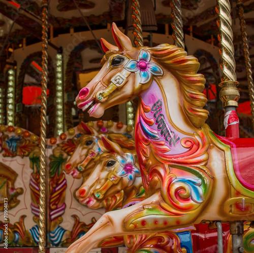 Fotobehang Carnaval Colourful carousel horses