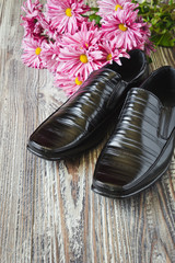 black  shoes and flowers