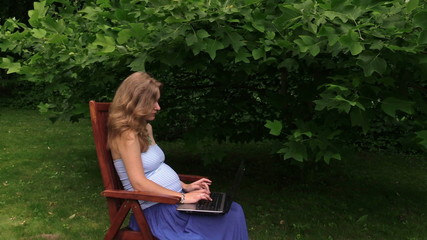 pregnant woman work with computer on chair under tulip tree