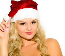 Красивая девушка блондинка в колпаке санта клауса