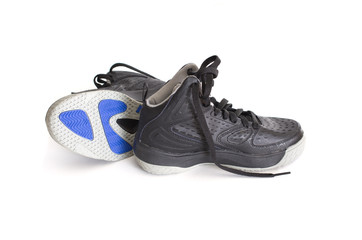 High-top black basketball shoes, sneakers