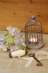 Herbststimmung bei Kerzenschein & Hortensienblüte