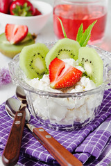 curd dessert with fruit