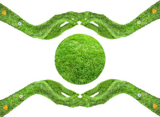 environmental care, the hands of the grass