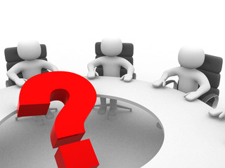 3d people at conference table and question mark- This is a 3d re