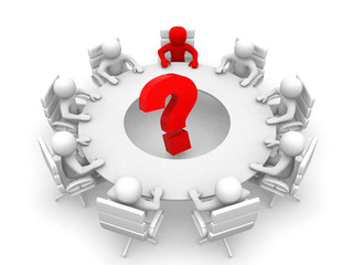 3d person at conference table and question mark- This is a 3d re