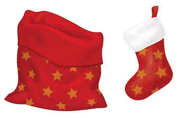 Vector Santa Claus bag  and sock isolated.