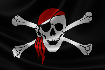 Pirate Flag on Satin Texture