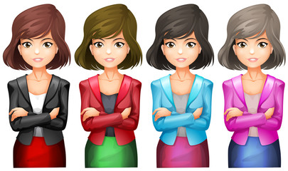Office girls in different uniforms