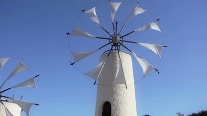 Traditional Greek windmills