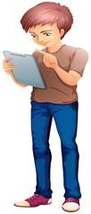 A man using a gadget