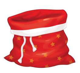 Vector Santa Claus bag isolated.