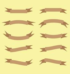 brown ribbon banner vector illustration