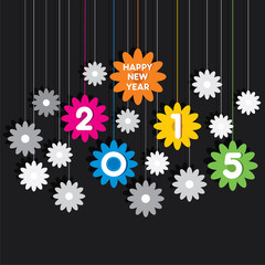 creative happy new year 2015 greeting design background vector