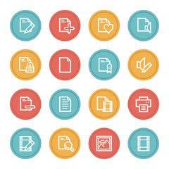 Document web icon set 1, color circle buttons