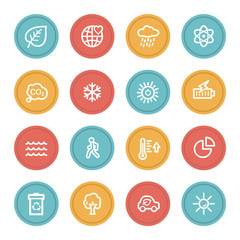 Green ecology web icon set 2, color circle buttons