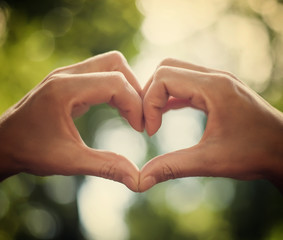 heart of human hands as symbol of love
