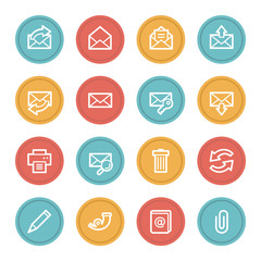 Email web icons, color circle buttons