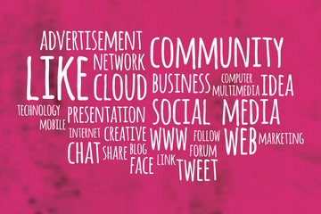 Social media word cloud with pink blurry background