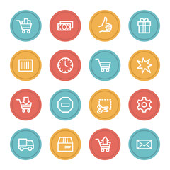 Shopping cart web icons, color circle buttons