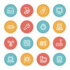 Computer components web icon set 2, color circle buttons