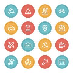 Travel web icon set 1, color circle buttons